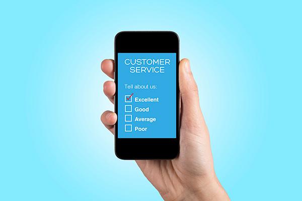 Mobile phone displaying customer satisfaction survey.